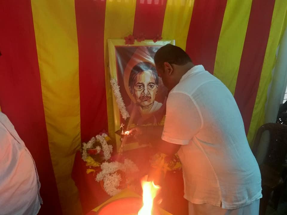 தமிழ்த் தேசிய மக்கள் முன்னணியின் கட்சி அலுவலகத்தில் அன்னை பூபதிக்கு அஞ்சலி